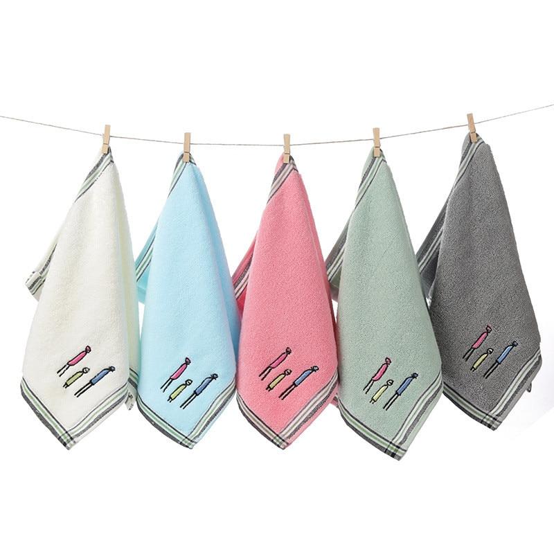 25x50cm 100% Cotton Children Kids Hand Face Towel Cartoon Family Embroidered Soft Comfortable Bathroom Washcloth