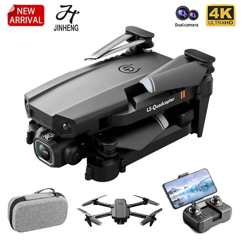 JINHENG New Mini Drone 4K 1080P HD Camera WiFi Fpv Air Pressure Altitude Hold Foldable Quadcopter RC Dron Kid Toy Boys GIft