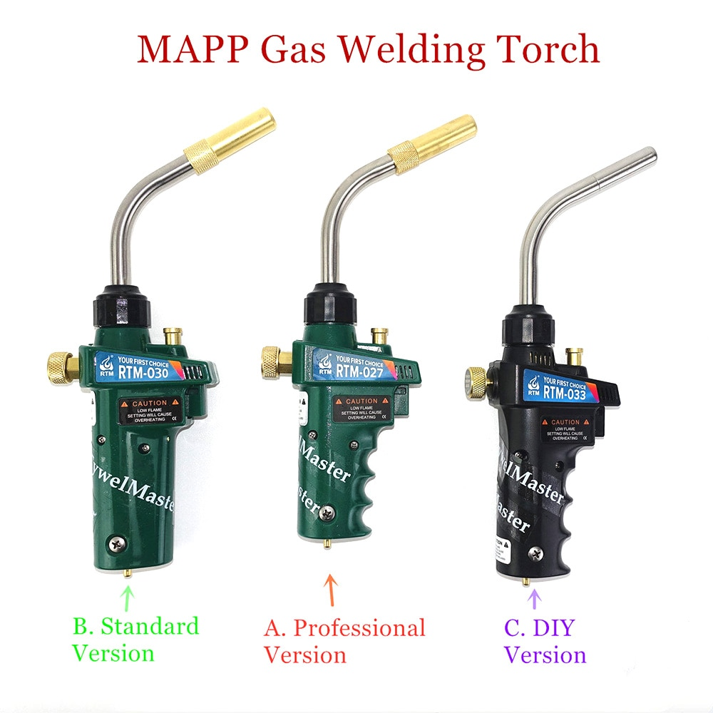 Braze Welding Torch MAPP Propane Gas Torch Piezo Trigger Ignition CGA600 Copper Aluminum Heating Solder Burner