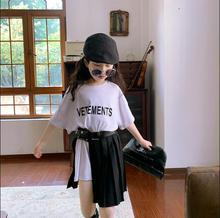 Ensemble 3 pièces pour filles, t-shirt + jupe drapée + sac à ceinture, mode dété, costume 4-10t F338, 2020