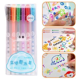6Pcs/Set 3D Jelly Pen Set Cute DIY Painting Gel Pen Creative Colored Neutral Pens For Girl School Supplies Korean Stationery