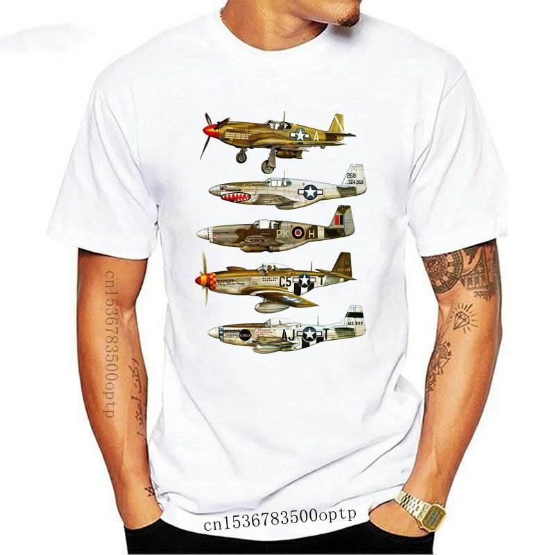 New North American P-51 Mustang World War II Fighter Aircraft Print T-Shirt Fashion Men Short Sleeve Summer Casual Hip Hop Boy T
