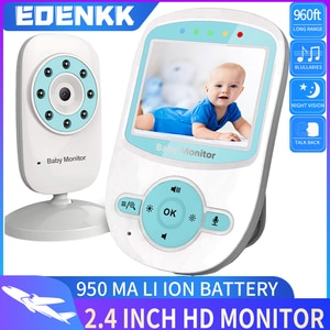 baby video monitor with camera and audio, remote, room temperature, infrared night vision, two-way talk,  high capacity battery.