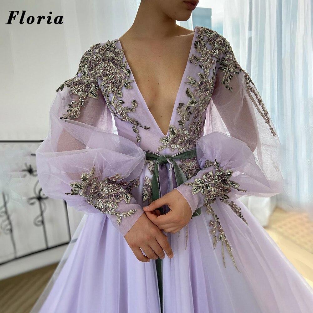 فستان سهرة مطرز بالخرز من Lilac فستان سهرة بتصميم دبي للنساء فستان المشاهير 2021 فستان عربي طويل للحفلات الراقصة