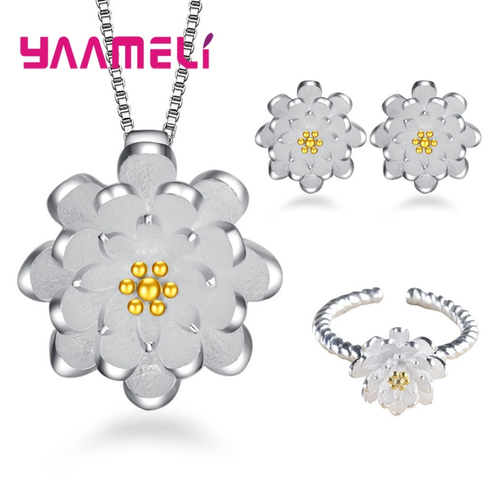 Real 925 Sterling Silver Bridal Jewelry Sets Wedding Necklace Earring Ring Set for Women Elegant Party Gift Fashion Costume 925 sterling silver opal stone wedding bridal jewelry sets earrings for women costume jewelry pendant necklace ring set gift box