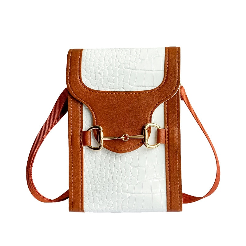 Qyahlybz buckle contrast crocodile pattern women's leather small square bag casual mobile phone crossbody bags for women