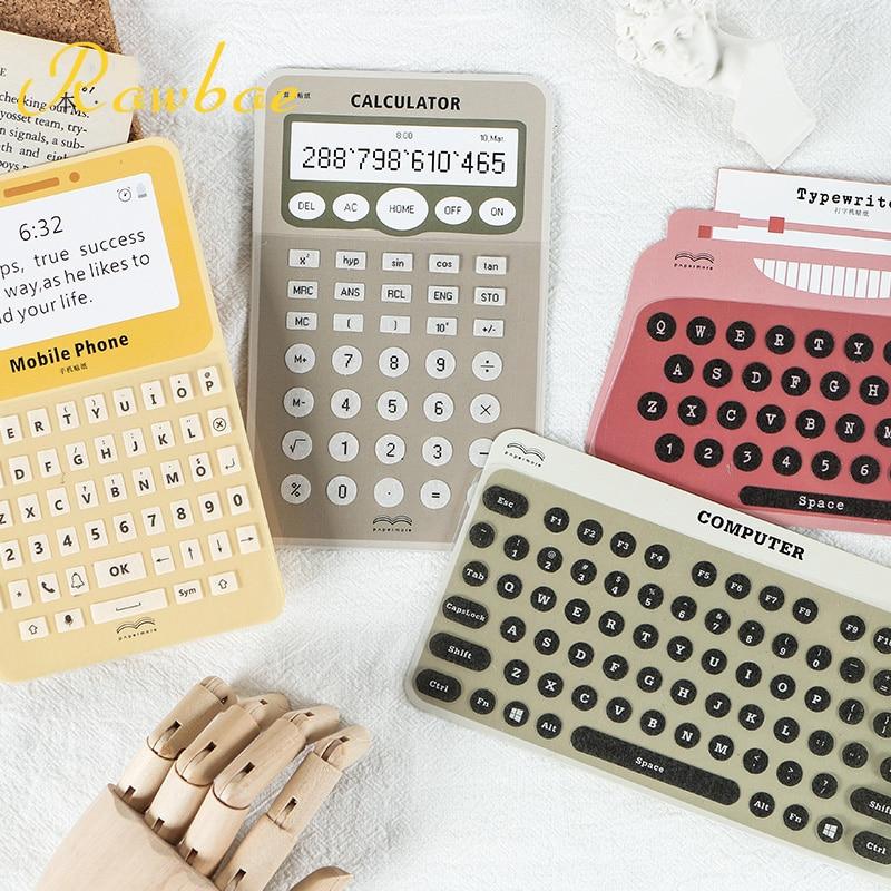 Rowboe bonito papelaria criativo digital adesivos teclado máquina de escrever e papel adesivos diy mão conta marca adesivo decorativo