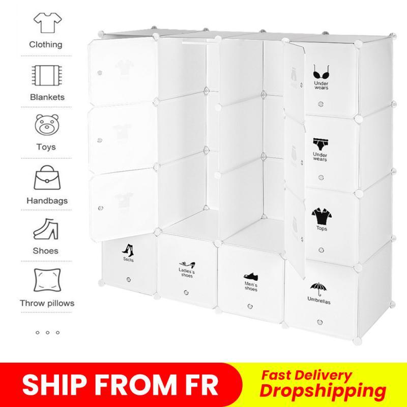 صندوق تخزين 4 طبقات 16 أبواب خزانة ملابس من البلاستيك الجمعية خزانة الملابس خزانة خزانة الحجرات غرفة نوم البلاستيك الحديثة أضعاف HWC