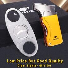 COHIBA Windproof 1Torch Jet Flame Cigarette Cigar Lighter W/ 2 Cigar Punch Stainless Steel Cigar Cutter Set