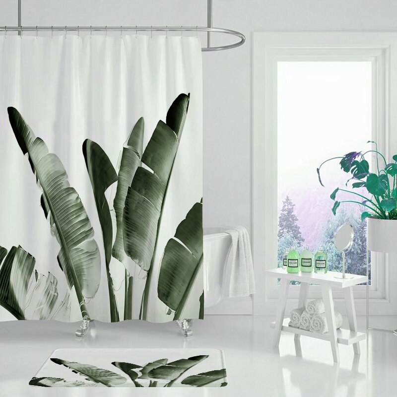 Cortina de ducha de planta, decoración de planta negra, conjunto de cortina de ducha, decoración de baño, cortina de ducha impermeable