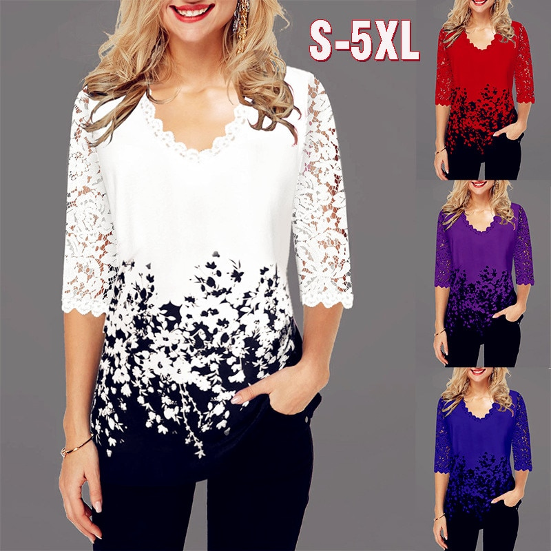 Summer 2020 Cotton Fashion Women Lace Spring Ruffles Crochet Tops Tees Plus Sizes Vintage Femme Shirts Blouse Befree Boho Casual