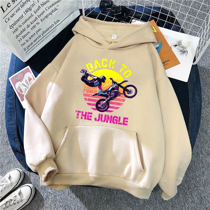 Female Hoodies Back To The Junggle Print Women Sweatshirts Loose Spring Autumn Pullovers Pockets
