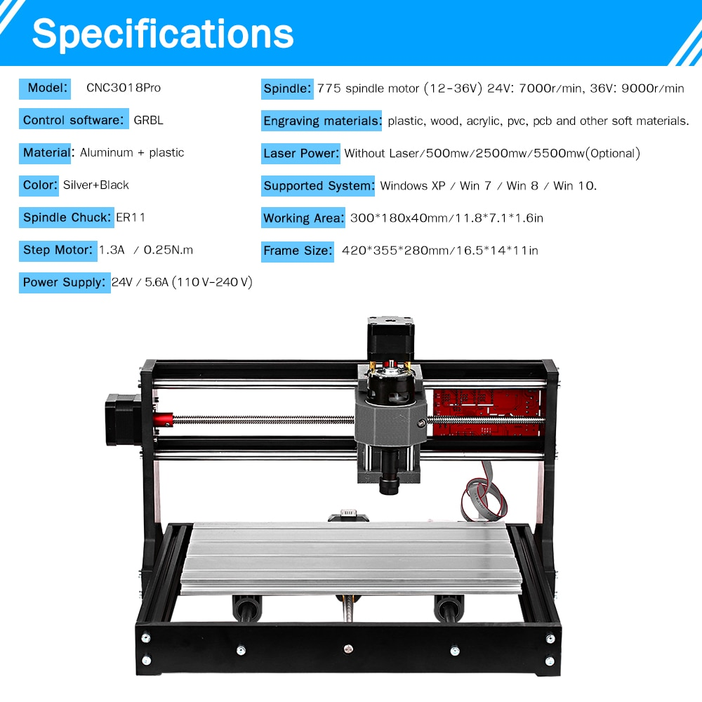 CNC 3018 Pro Laser Engraver Wood CNC Router Machine GRBL Control Mini CNC Machine 3 Axis Pcb Milling Machine Wood Engraver enlarge