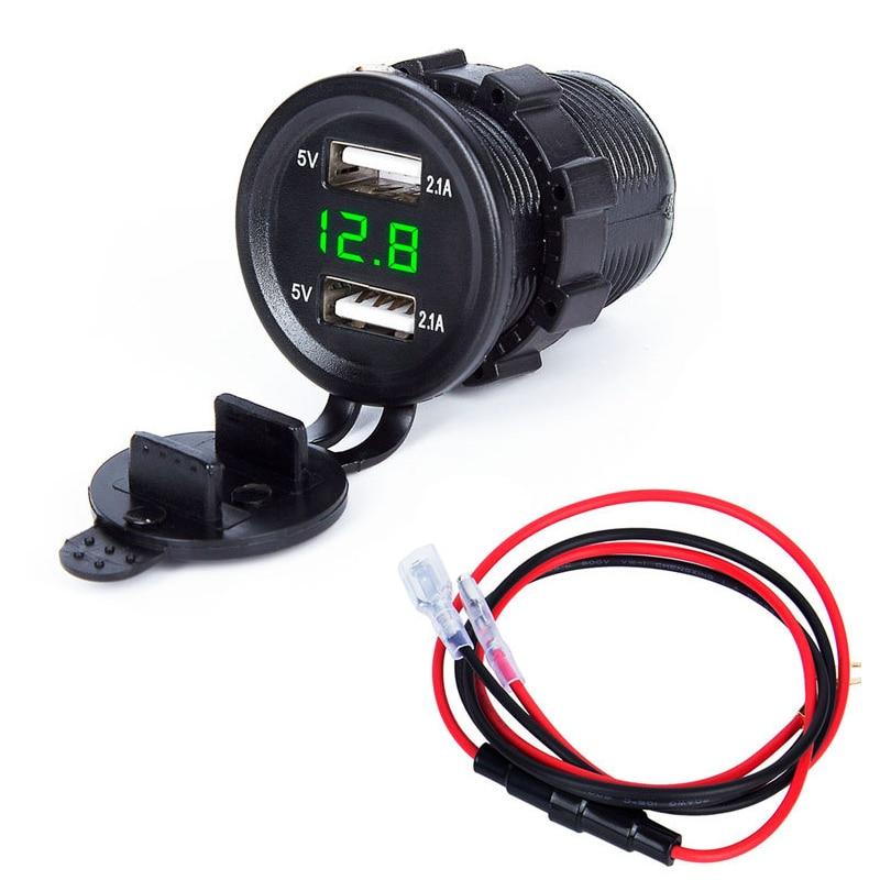 Adaptador de soquete de carregador usb duplo display led com capa de poeira tomada de carro motocicleta (saída 5v2. 1a/entrada 12v24v)