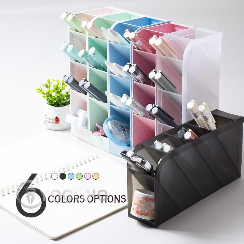Большой Ёмкость настольная подставка для ручек держатель для туалетной щетки простой макияж ящик для хранения настольный органайзер подст...