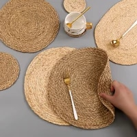 handmade weave non slip placemat coaster corn hull for table dinne round insulation pads table mats pads home decor 0041