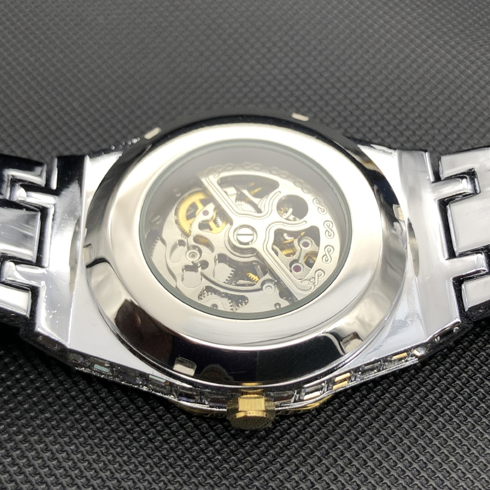 MISSFOX Hip Hop Automatic Watch For Men Luxury Ice Out Japan Movt Clock Fashion Stainless Steel Mechanical Watch With  Diamond enlarge