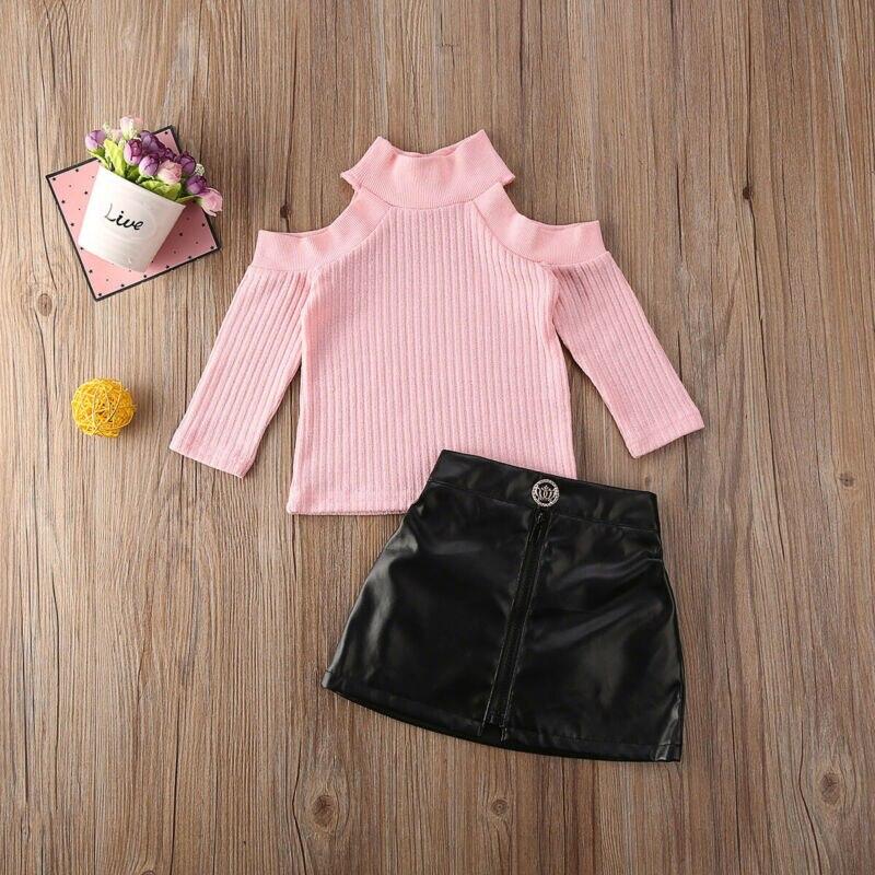 Newborn Baby Girls Kids Clothes Off Shoulder Pullover Sweater Tops+PU Skirt Autumn Winter Children Girls Clothing Set