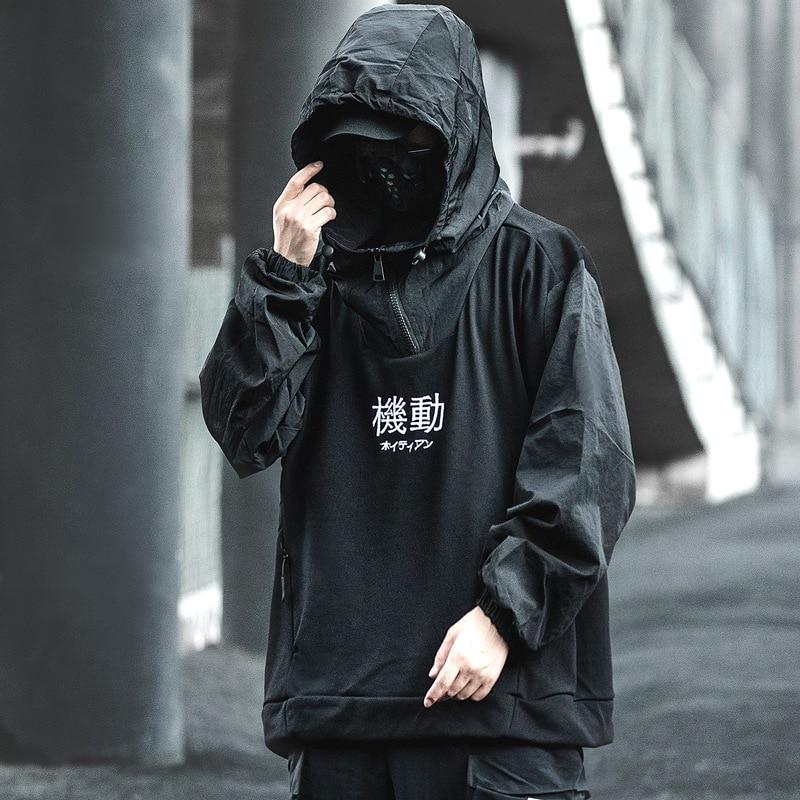 Harajuku هوديي البلوز الرجال 2021 الشارع الشهير المرقعة التكتيكية وظيفة البلوز البلوز الخريف فاسق رداء غير رسمي هوديي رياضية