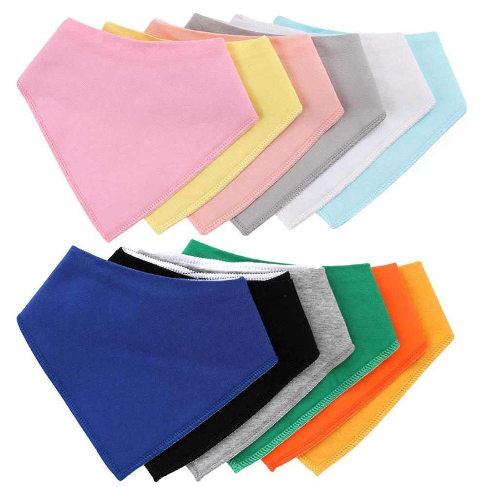 100% Organic Cotton Baby Bandana Drool Bibs For Boys And Girls Solid Colorful Babador Baby Bibs Newborn Baby Burp Cloth