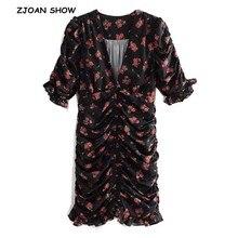 2019 Sexy Black Red Flower Print Summer Dress Ruffle detail Short sleeves Mini Short Dress for women Wood ears Party Dresses