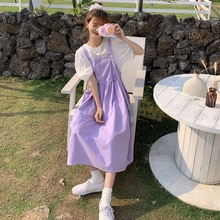 2021 Spring Women's Clothes Little Daisy Dungaree Female College Style Braces Skirt Lady Super Fairy