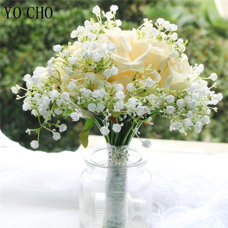 YO CHO بوكيه ورد صناعي جاكيت الزفاف باقة لوصيفات العروس زهرة الزفاف باقة الزفاف اكسسوارات الزواج حامل اليد