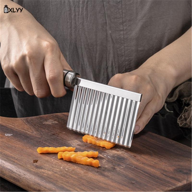 Accesorios de cocina Acero inoxidable patatas fritas corte forma de cuchillo de onda para cocinar verduras cortador cocina Gadgets.75z