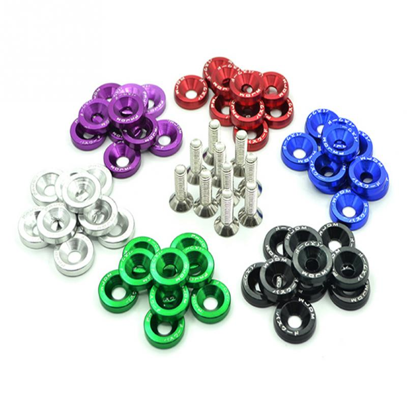 Lote de 10 tornillos pasadores hexagonales M6 modificados para coche unids/set, arandela para parachoques, tornillos para placa de matrícula DIY 2020NEW, gran personalidad