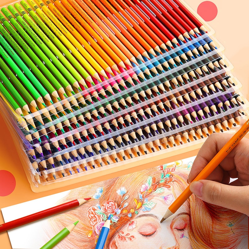 Sketching Painting Oil Pencil 48/72/120/160 Colors Professional Watercolor Wood Colored Pencils Painting Drawing Colour Supplies