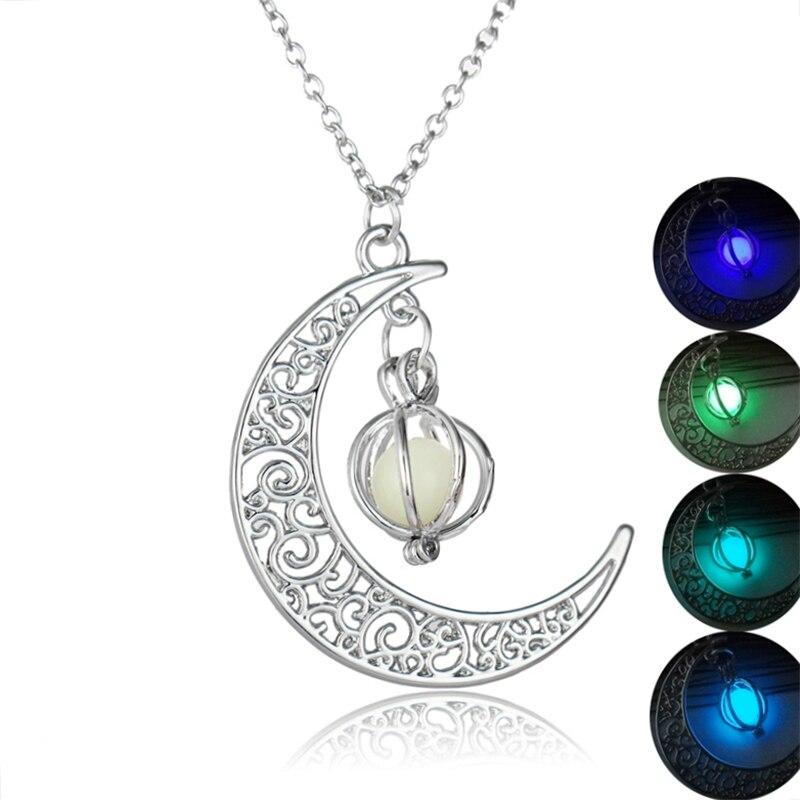 Moda prateado oco colar de pedra luminosa dos homens das mulheres lua pingente de jóias colar gargantilha senhora brilho no escuro gargantilha presente