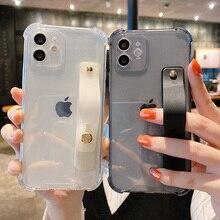 Прозрачный чехол на запястье для телефона iPhone 11 12 Pro Max XR XS Max X 7 8 Plus 11Pro 12Mini, флуоресцентный мягкий чехол накладка