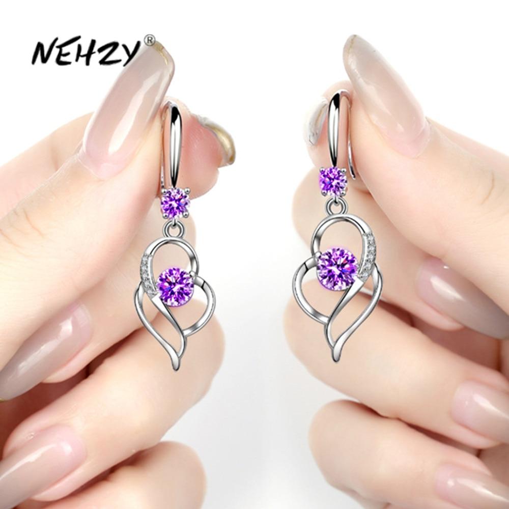 NEHZY de Plata de Ley 925 de las nuevas mujeres pendientes de joyería de moda azul de circón de cristal en forma de corazón hueco larga borla pendientes de gancho