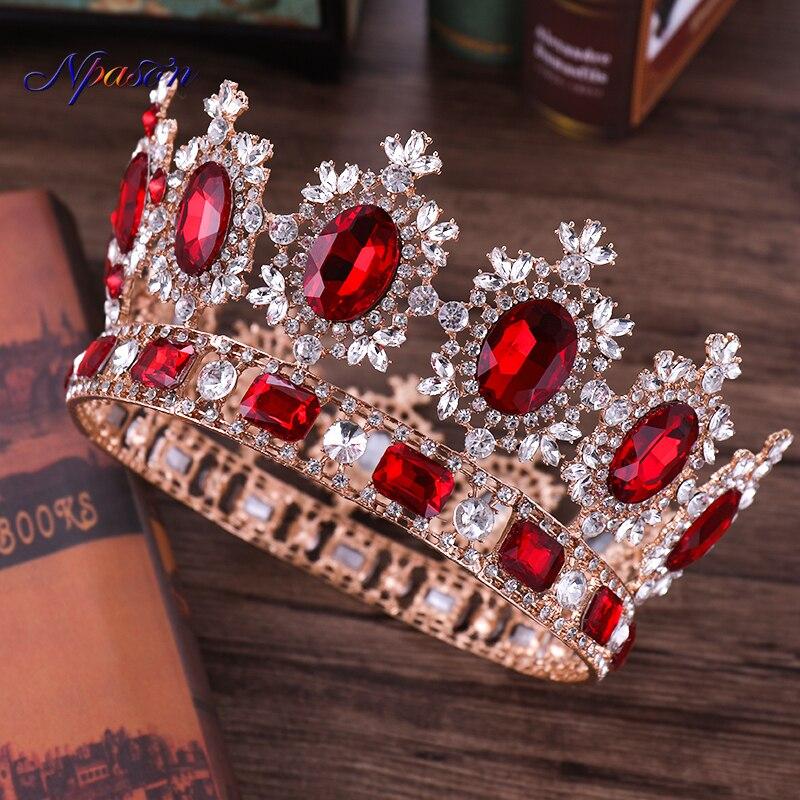NPASON Vintage Gold Red Crystal Crown Wedding Tiara Rhinestone Pageant Crowns Luxurious Bride Headbands Women Hair Accessories
