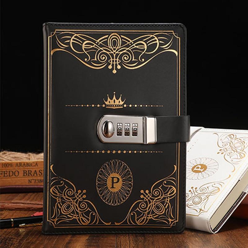 Bloc de notas con contraseña A5 Retro con bloqueo cuadernos PU cuero diario con candado viajero Bloc de notas diario planificador Colegio papelería regalos