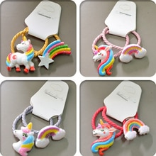 Accesorios para el pelo para niña, 2 uds., diadema de princesa arcoíris, bandas elásticas para el pelo, cuerdas para niña, tocado para bebé