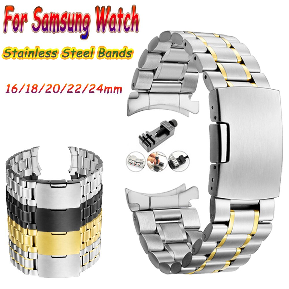AliExpress - Stainless Steel Metal Band 16/18/20/22/24mm for Samsung Galaxy 46 42MM/Gear S3 Classic Frontier/ for Men Women Folding Strap