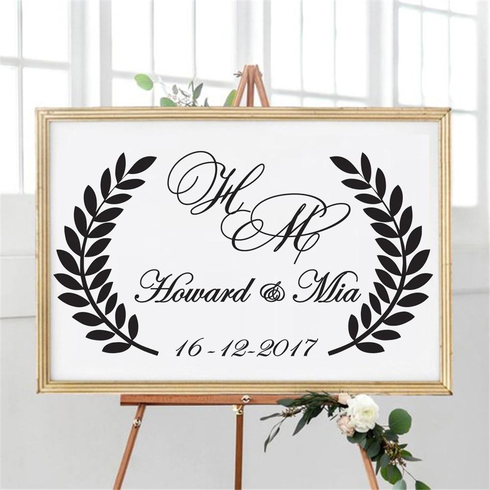 Calcomanía de vinilo con señal de boda... pegatina de pared personalizada con nombres de novio y novia de decoración de baileWL1047