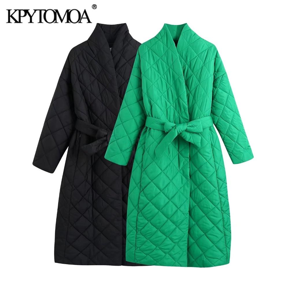 KPYTOMOA موضة النساء 2021 مع حزام سميك دافئ فضفاض سترات معطف Vintage جيوب طويلة الأكمام الإناث ملابس خارجية أنيقة معطف