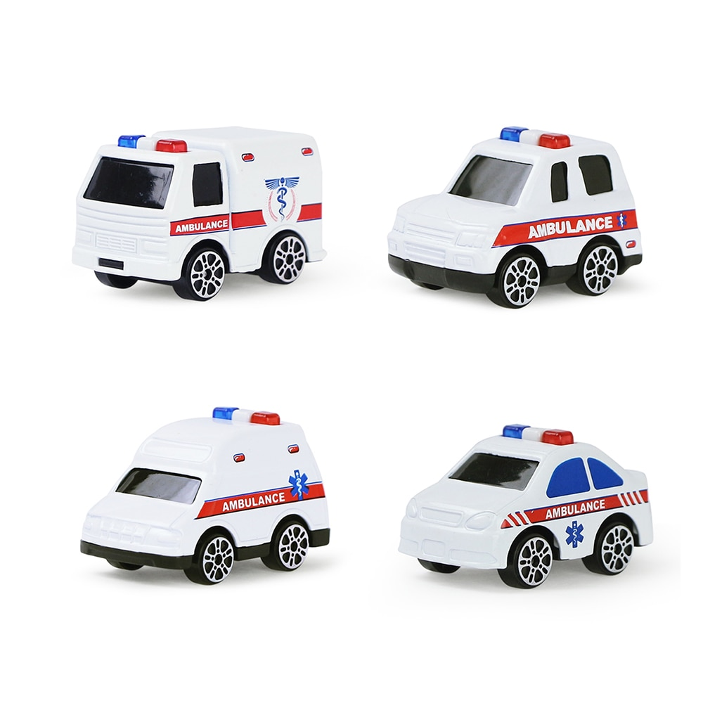 4 Pcs/Set Kids Pull Back Car Model Toy Engineering Truck Ambulance Diecast Vehicle Educational Toys for Boys Gift