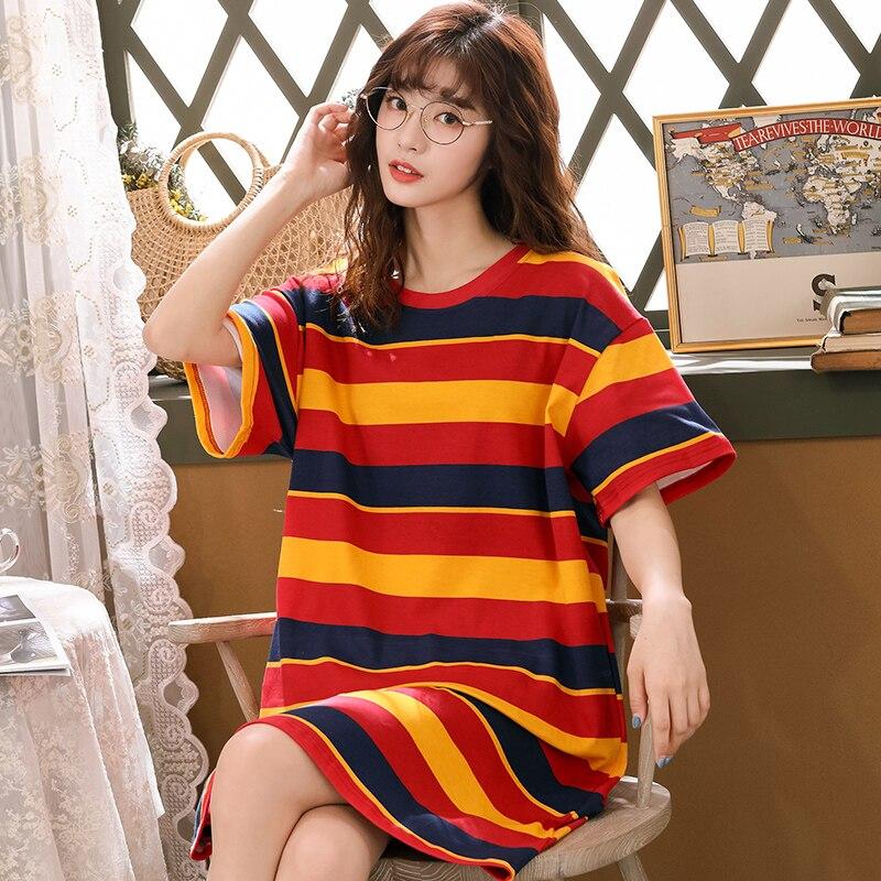 Женская ночная рубашка из хлопка, Повседневная Ночная рубашка для дома и отдыха на лето, 2019