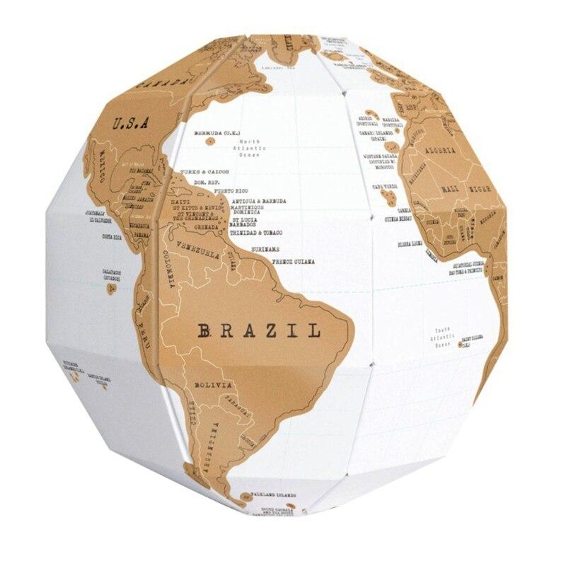 Globo 3D rompecabezas globo DIY montar globo Vertical mundo rasguño 3D viaje mapa divertido juguete para niños