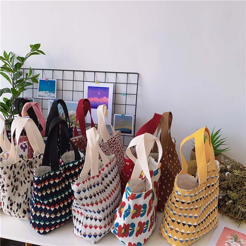 Mini Canvas Tote Bags for Women Eco Cotton Cloth Cute Small Lunch Bag Fashion Printing Handbags Kids Striped Food Pack