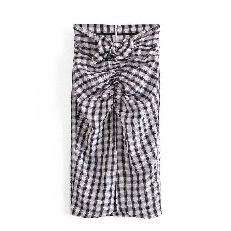 Модные женские юбки DOUJILI, новинка 2021, корейские клетчатые мини-юбки с высокой талией, большие юбки, женские юбки средней длины