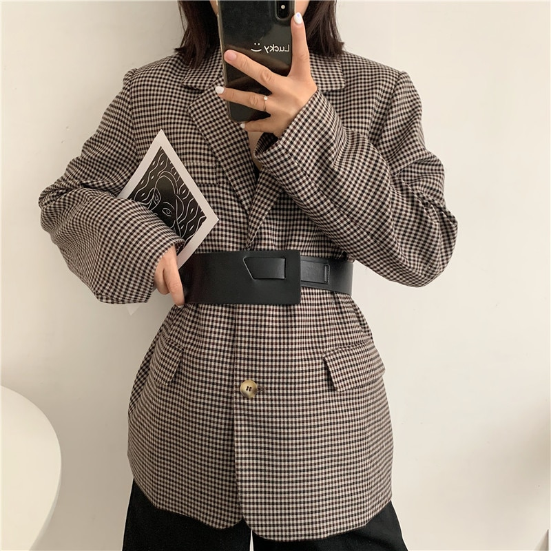 Knotted PU Leather Belt Women's Wide Fashion All-Match Match with Coat Dress Coat and Trench Coat Wa