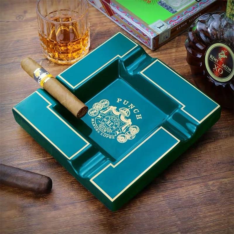 Hot Sale Cigar Ashtray Large Ceramic Ashtray Living Room Creative Personality 4 Slot Ashtray Holder CA-002 enlarge