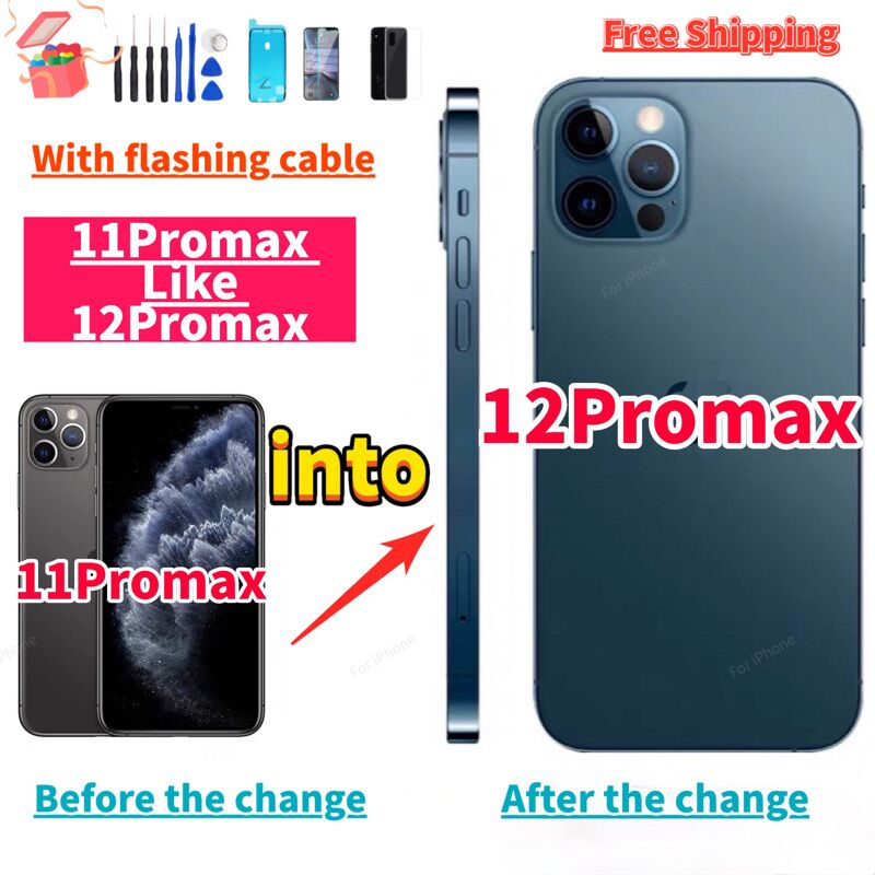 Review DIY Back Cover Housing For Changing iphone 11 Pro max Into iphone 12 Pro Max Housing 11promax like 12promax+ Flashing cable+Gift