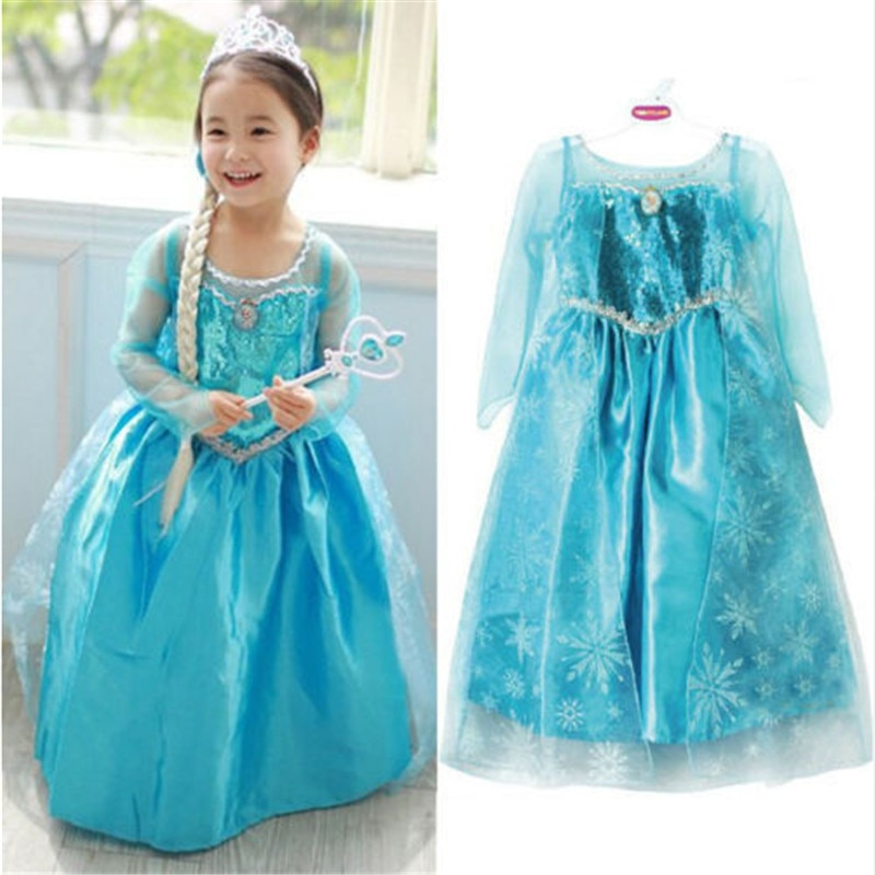 Kids Baby Girl Blue Fancy Dress Frozen Anna Elsa Cosplay Costume Dresses Princess Queen Party Gown Tulle Dresses 4-8 Years