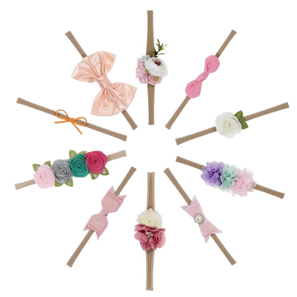 New 10pcs/lot Newborn Hair Bows Flower Headband Elastic Kids Handmade Headbands Set Hair Accessories Birthday Gift