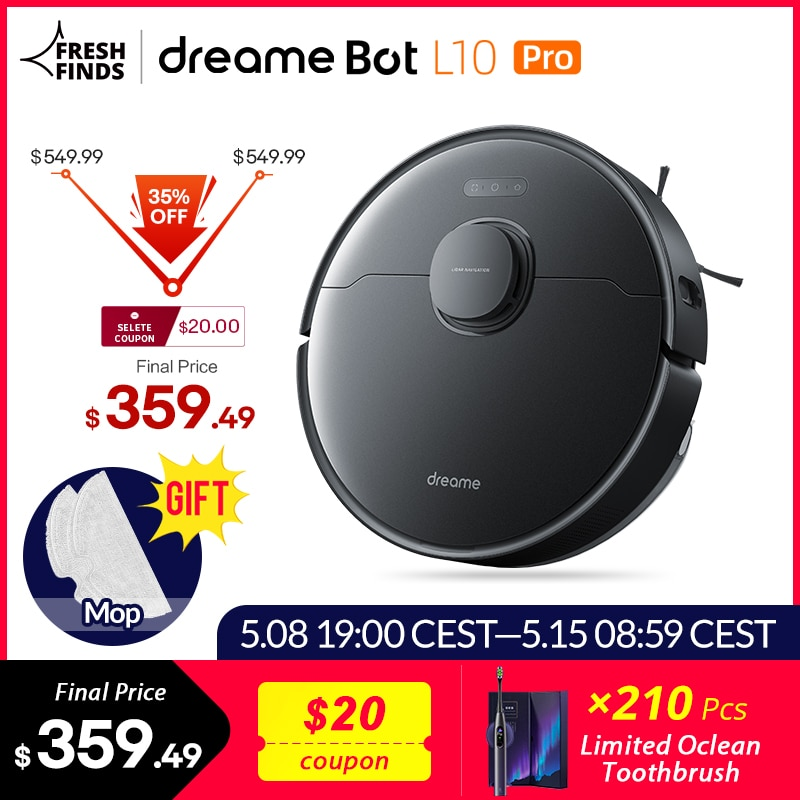 [World Premiere In Stock]  Dreame Bot L10 Pro Robot Vacuum Cleaner Superb LiDAR Navigation, 4000Pa Suction ,150mins Auto Charge